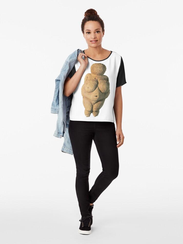 Alternate view of #Venus of #Willendorf #artifact sculpture art figurine statue humanbody #VenusofWillendorf Chiffon Top