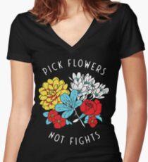 Blumen-Shirt Shirt mit V-Ausschnitt