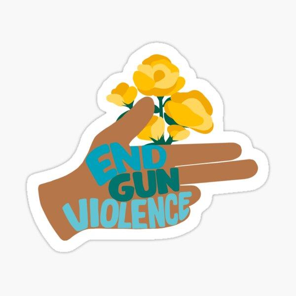 END GUN VIOLENCE - Hand with Flowers Activism Illustration Sticker