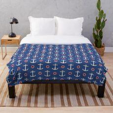 Navy anchors pattern Throw Blanket