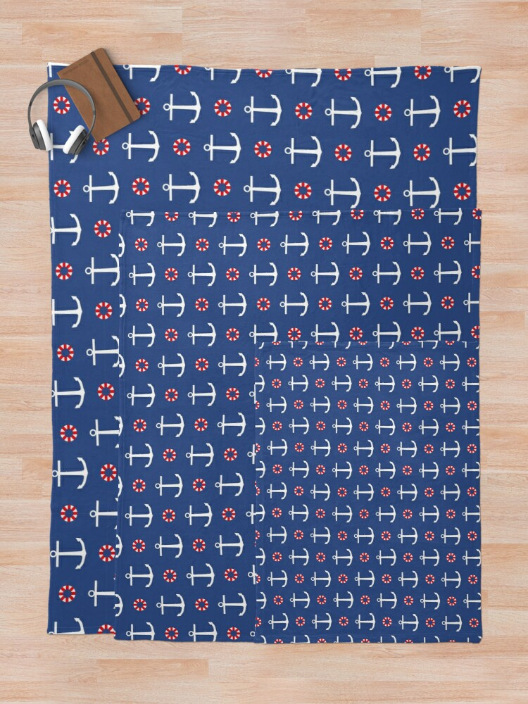 Alternate view of Navy anchors pattern Throw Blanket