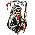 Traditional Reaper with Bloody Sythe Tattoo Design by FOREVER TRUE TATTOO