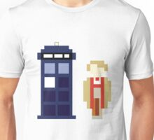 Pixel 5th Doctor and TARDIS Unisex T-Shirt