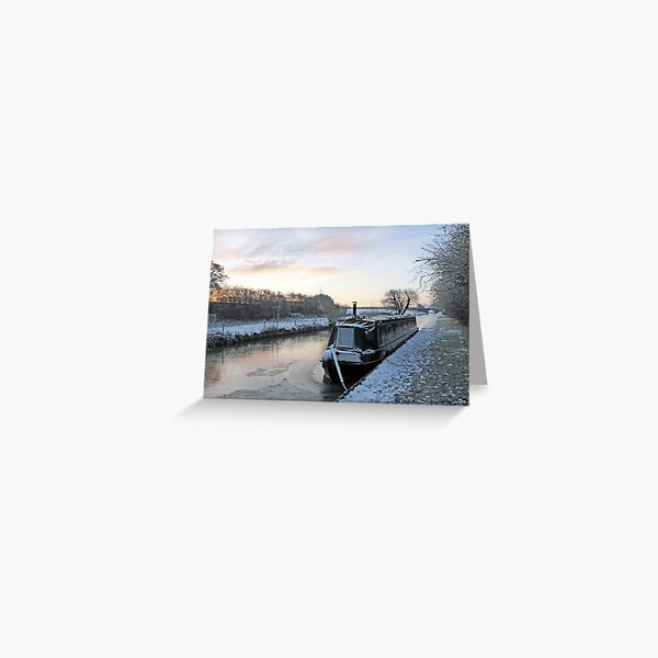 Narrowboat Frozen In On Canal During Winter Greeting Card