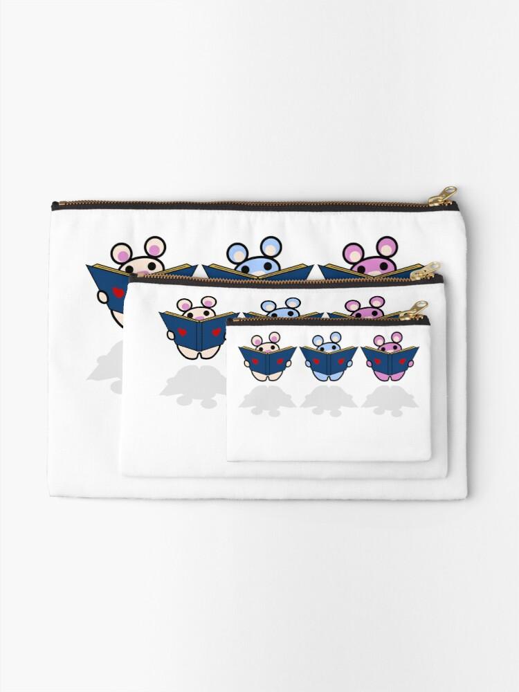Alternate view of STPC: Three Chibis (Reading) Zipper Pouch
