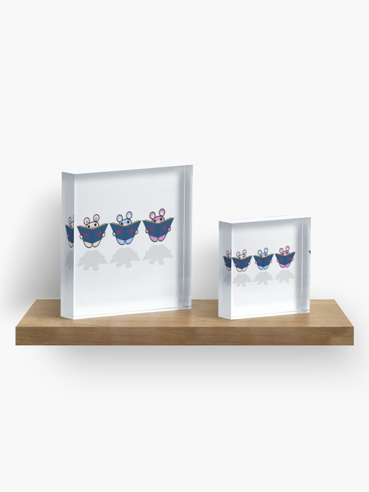 Alternate view of STPC: Three Chibis (Reading) Acrylic Block