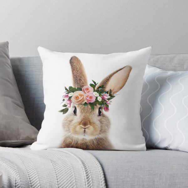 Baby Rabbit With Flower Crown, Baby Animals Art Print by Synplus Throw Pillow