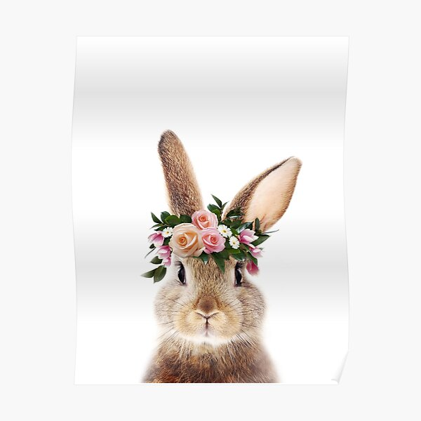 Conejo bebé con corona de flores, animales bebé Lámina de Synplus Póster