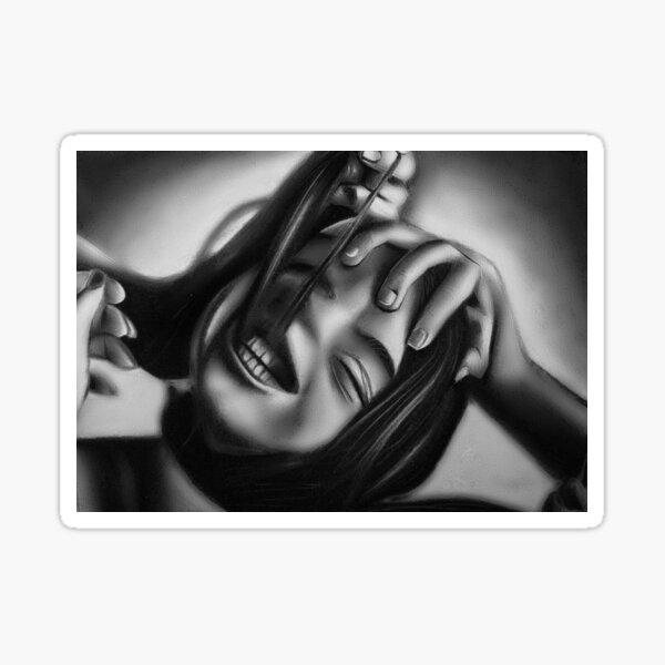 Death of a smile (Charcoal drawing) Sticker