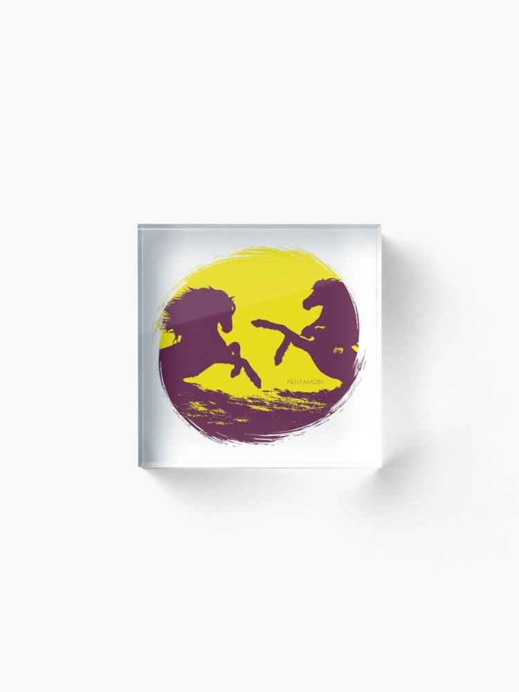 Alternate view of Horse riding sunset (colored) Acrylic Block