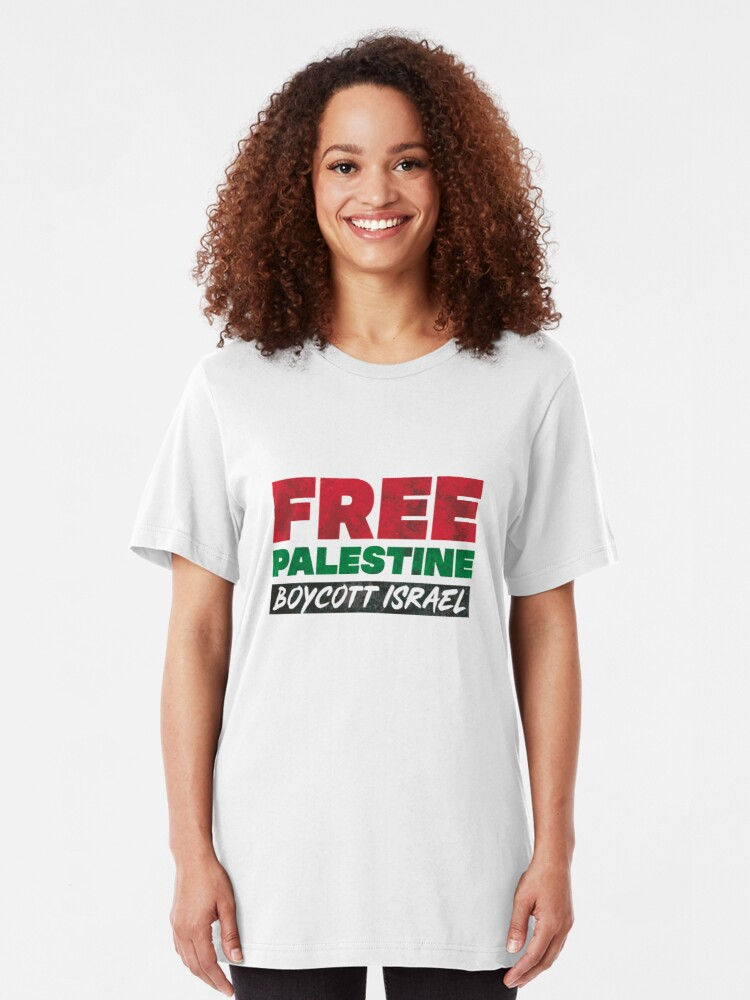 Alternate view of Free Palestine, Boycott Israel Slim Fit T-Shirt