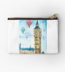 London architecture Big Ben and balloons watercolor. Studio Pouch