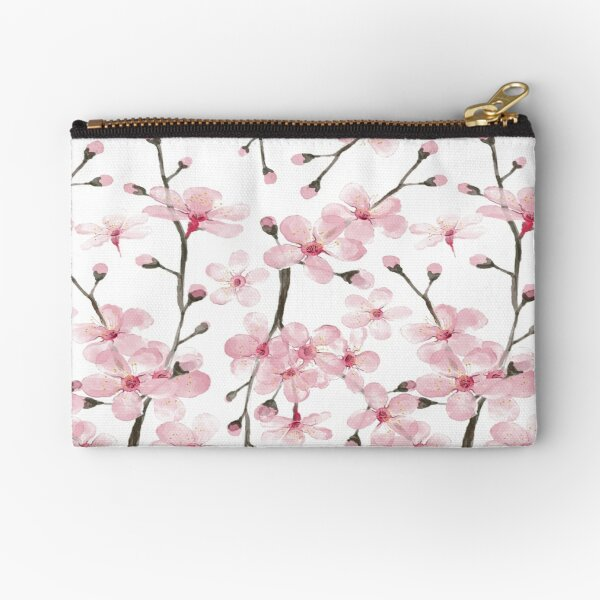 pink cherry blossom watercolor Zipper Pouch
