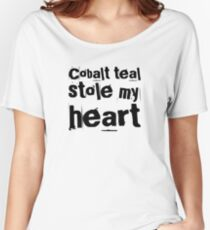 Cobalt teal stole my heart slogan t-shirt and home decor, white on blue Relaxed Fit T-Shirt