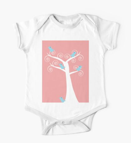 5  blue birds in a tree (pink background) Kids Clothes
