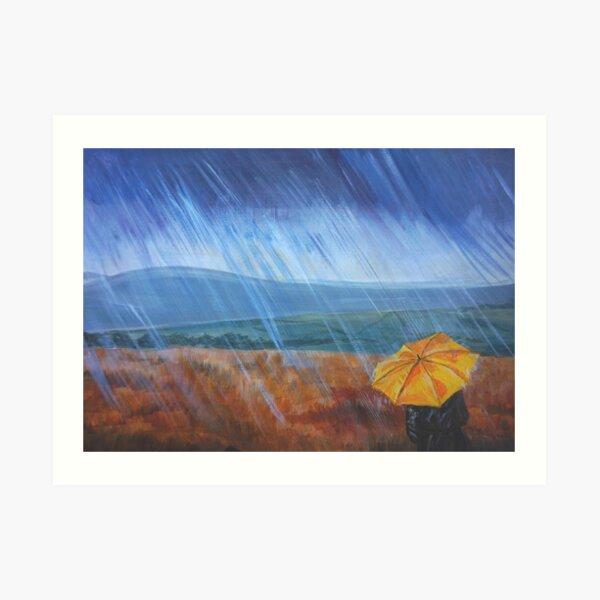 Umbrella in the rain Art Print