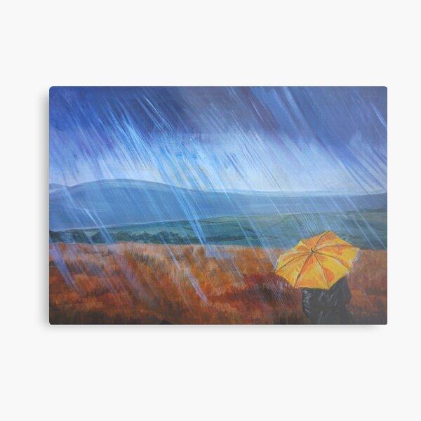 Umbrella in the rain Metal Print