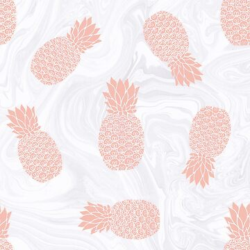 Rose Gold Pineapples on White Marble by julieerindesign