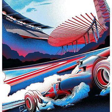 VEREINIGTE STAATEN: Oldtimer Grand Prix Auto Racing Print von posterbobs