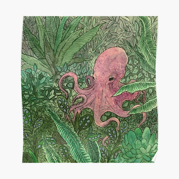 Pink octopus in a jungle - illustration Poster