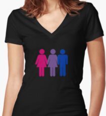 Bisexual Love Fitted V-Neck T-Shirt