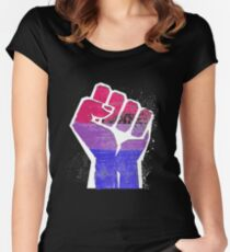 Bisexual Fist Pride Fitted Scoop T-Shirt