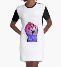 Bisexual Pride Resist Fist Graphic T-Shirt Dress