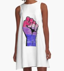 Bisexual Pride Resist Fist A-Line Dress