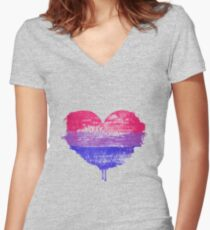 Bisexual Pride Heart Fitted V-Neck T-Shirt