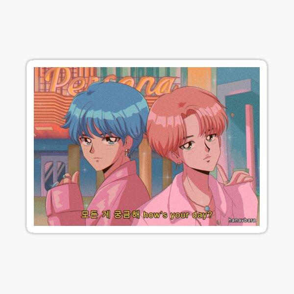 BTS V & JIMIN - Boy with luv 90's anime Sticker