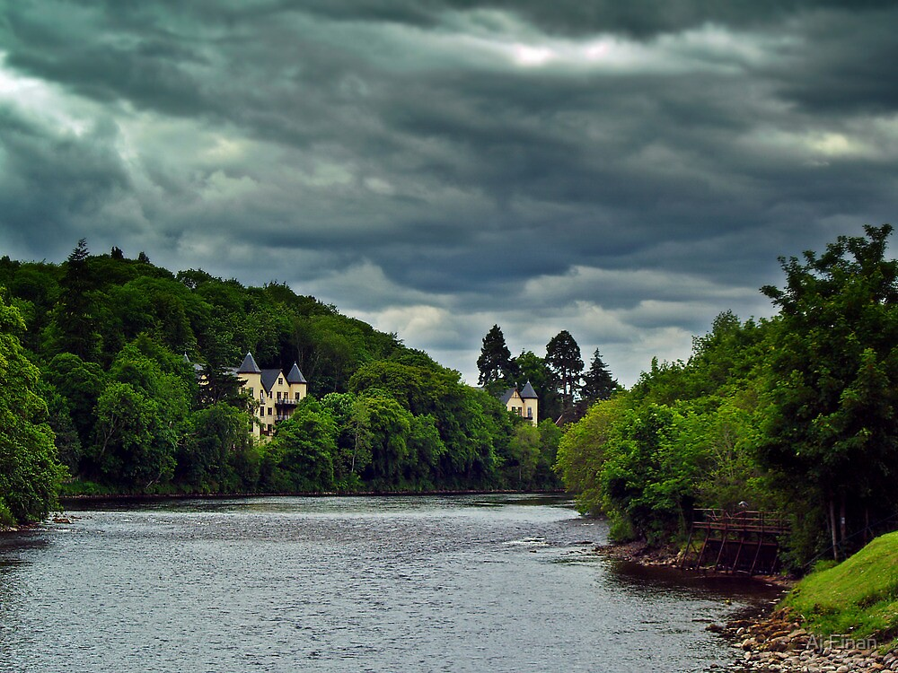 Cloudy Splender Over The River Ness,Scotland by Aj Finan