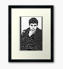 Ian Curtis+ Unknown Pleasures= perfection  Framed Print