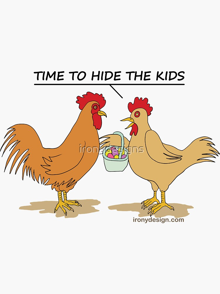 Funny Chicken Easter Egg Hunt Cartoon by ironydesigns