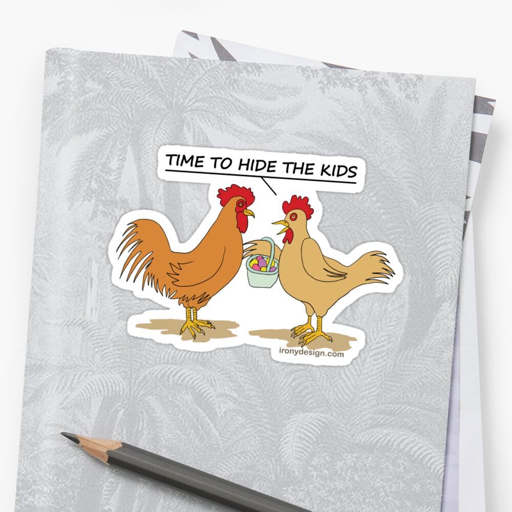 Funny Chicken Easter Egg Hunt Cartoon Sticker