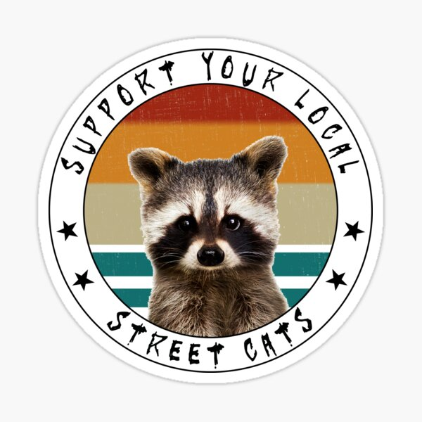 Support Your Local Street Cats Vintage Baby Raccoon Sticker