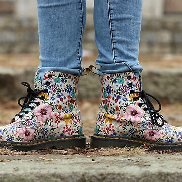 shoes with a flower pattern teenage girl by goceris
