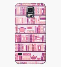 Funda/vinilo para Samsung Galaxy Estantería rosa patrón romance libros de té