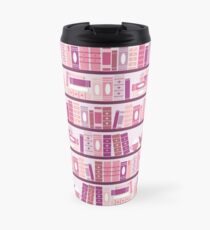 Pink Bookcase Pattern Romance Tea Books Travel Mug