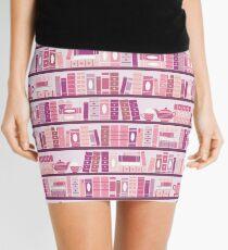 Minifalda Estantería rosa patrón romance libros de té