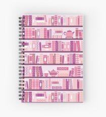 Rosa Bücherregal-Muster-Romance-Tee-Bücher Spiralblock