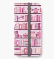 Pink Bookcase Pattern Romance Tea Books iPhone Wallet/Case/Skin