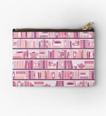 Pink Bookcase Pattern Romance Tea Books Studio Pouch