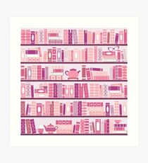 Pink Bookcase Pattern Romance Tea Books Art Print