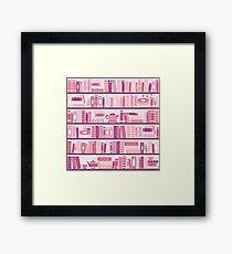 Rosa Bücherregal-Muster-Romance-Tee-Bücher Gerahmtes Wandbild