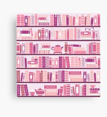 Pink Bookcase Pattern Romance Tea Books Canvas Print