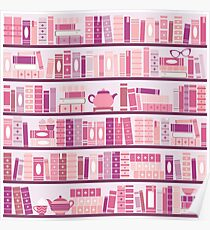Pink Bookcase Pattern Romance Tea Books Poster