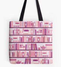 Bolsa de tela Estantería rosa patrón romance libros de té
