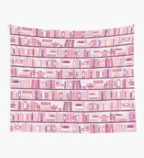 Pink Bookcase Pattern Romance Tea Books Wall Tapestry