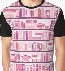 Rosa Bücherregal-Muster-Romance-Tee-Bücher Grafik T-Shirt