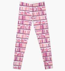 Pink Bookcase Pattern Romance Tea Books Leggings
